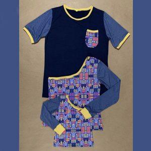 Coordinado familia Multicolor, azul y amarillo